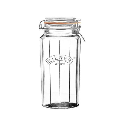 Kilner Large 1.8L Facetted Glass Clip Top Jar
